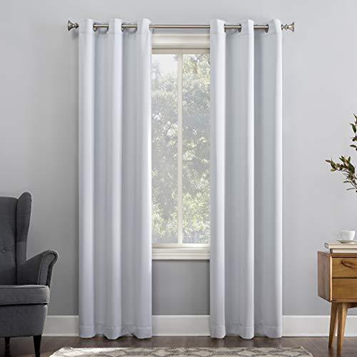 Sun Zero Easton Blackout Energy Efficient Grommet Curtain Panel, 40x63, Dove White