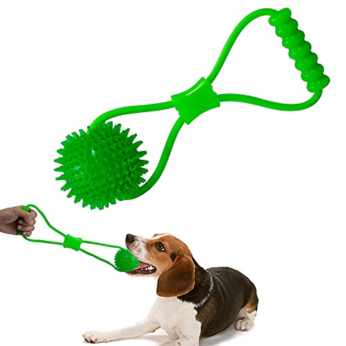VECELA Pelota con Cuerda, Pelota para Perros de Caucho Natural con asa, Pelota para Perros Ø 9cm con función de Cuidado Dental,Juguete para Cachorros, Perros pequeños y medianos