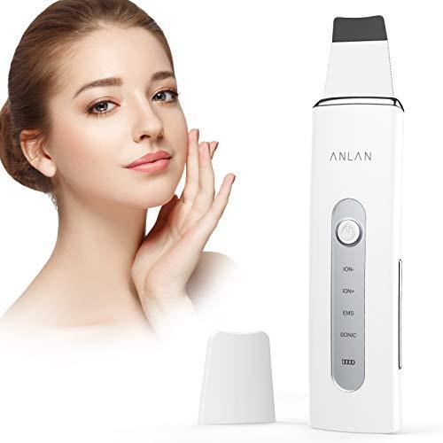Ultraschallpeelinggerät ANLAN Skin Scrubber Ultraschall Peeling Porenreiniger Hautreiniger Akne Entferner Ionen EMS Massage mit Silikonhülle, für Gesichtsreinigung Gesichtspflege(Weiß)