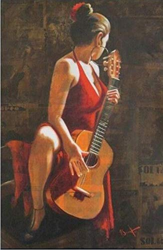 Pinturas al óleo pintadas sobre Lienzo de Mujer Hermosa Figura de Bailarina de Flamenco Obra de Arte Bailarina Imagen Femenina para decoración de pared-40 x 50 cm_7 7