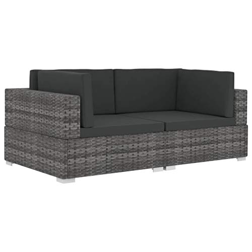 vidaXL Ecksofa 2 STK. mit Auflagen Gartenmöbel Lounge Möbel Sofa Bank Sessel 2er-Sofa Gartensofa Sitzgruppe Rattansofa Poly Rattan Grau