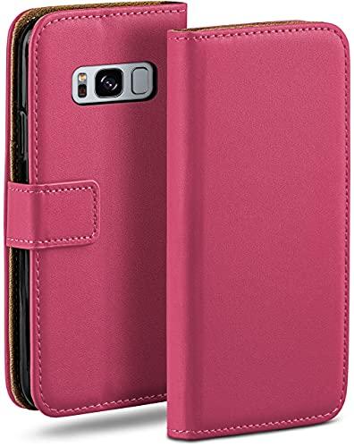 moex Klapphülle kompatibel mit Samsung Galaxy S8 Hülle klappbar, Handyhülle mit Kartenfach, 360 Grad Flip Hülle, Vegan Leder Handytasche, Pink