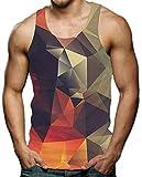 Men's Tank Tops Geometric Diamond Graphic Tee Tops Cool Gym Workout Rave Gay Pride Sleeveless Shirts