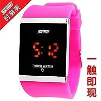 QTMIAO ファッション時計美しい時計, WATCHタッチスクリーンLEDメンズ腕時計レトロゼリーファッションメンズウォッチ (Color : 1)