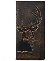 HOJ Co. DEER Long Wallet For Men | Full Grain Leather With Hand Burnished Finish | Bifold Wallet | Rodeo Wallet | Deer Wallet