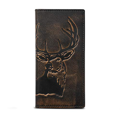HOJ Co. DEER Long Wallet For Men | Full Grain Leather With Hand Burnished Finish | Bifold Wallet | Rodeo Wallet | Deer Wallet