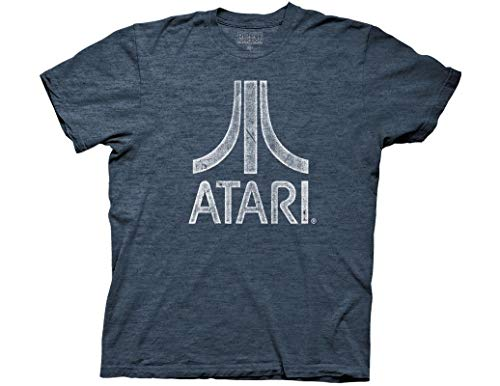 Ripple Junction Atari Distressed Logo Adult T-Shirt XX-Large Heather Navy