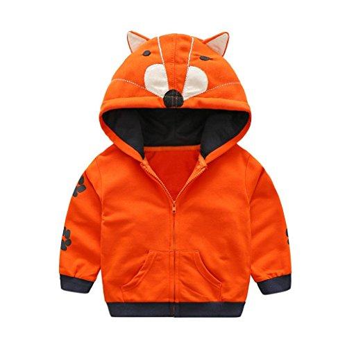 QinMM QinMM Baby Mädchen Mantel, Karikatur Tier mit Kapuze Reißverschluss Oberseiten Kleidung (0-12M, Orange)