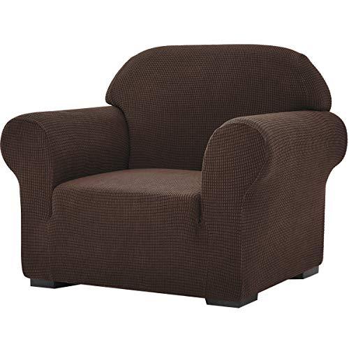 subrtex Stretch-Sofabezug, 1 Stück, für Wohnzimmer, Sessel, weiche Möbel, waschbar, Couch, Schonbezüge für Kinder/Hunde (Stuhl, Dunkelbraun)