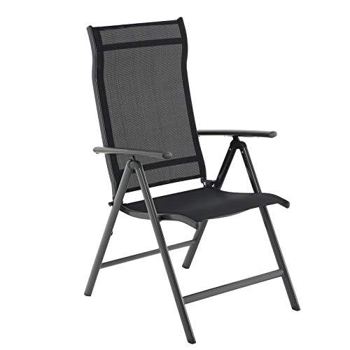 SONGMICS Gartenstuhl, Klappstuhl, Outdoor-Stuhl mit robustem Aluminiumgestell, Rückenlehne 8-stufig verstellbar, bis 150 kg belastbar, schwarz GCB02BK