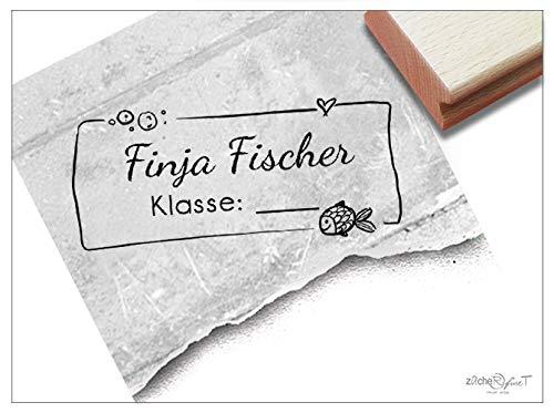 ZAcheR-fineT Damesstempel, persoonlijke schoolstempel, personaliseerbaar, cadeau voor kinderen, voor de eerste schooldag