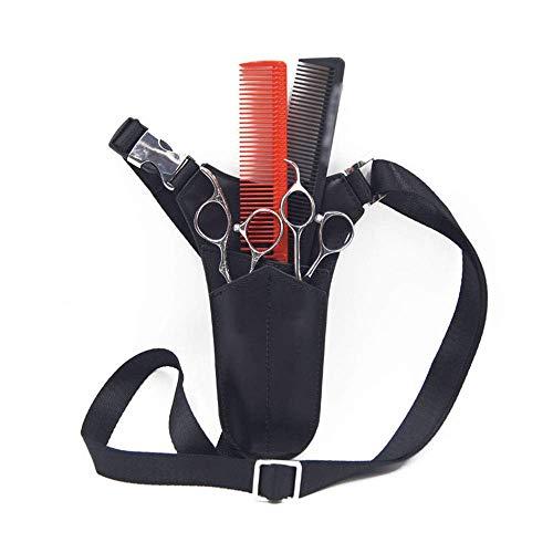 WUYUESUN Bolsa de tijeras de cuero con triángulo para herramientas de belleza, para estilista de pelo, accesorio de corte de pelo (color: negro)