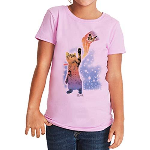 Del Sol DelSol – Camiseta para niñas – Super Impresionante – Cambios 100% algodón Peinado Preencogido – Ráfagas de Negro y Blanco a Colores Vibrantes – púrpura – YXL-XG-TG – 1 Pieza