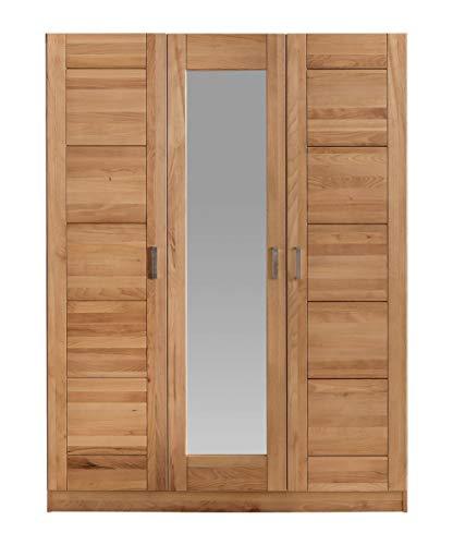 Möbel-Store24 - Armadio a 3 ante con specchio, in legno di faggio massiccio, oliato