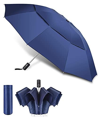 REMALL Paraguas de Golf Grande Antiviento, Paraguas Plegable Resistente al Viento, Paraguas Automatico Mujer Hombre,Doble Cubierta con ventilación Umbrella, Deportivo, Impermeable (Azul)