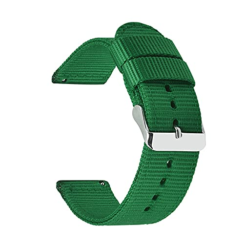LIANYG Correa De Reloj 18 mm 20 mm 22 mm 24 mm Nylon Lienzo de la Correa Reloj de Reloj de Reloj 42mm 46mm Banda de Pulsera 493 (Band Color : Green, Band Width : 24mm)