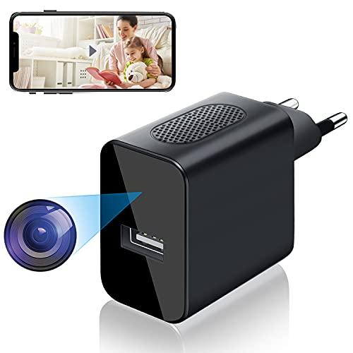 Cámara Espía WiFi USB, Igzyz 4K/1080P Cámara Mini cámara Oculta con Alarma de Detección de Movimiento, Mini Cámara de Vigilancia Compatible con Android e iOS