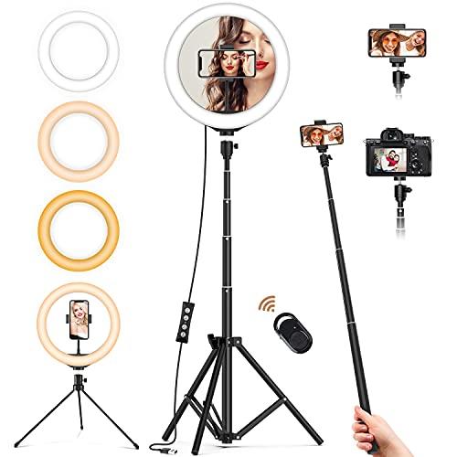 Ringlicht mit 2 Stativ,Jeemak 10 Zoll LED Ringlicht mit stativ und Telefonhalter,Selfie Ringleuchte mit 3 Farbe und 10 Helligkeitsstufen,Tischringlicht für Selfie/Make up/LiveStreaming/YouTube/Tik Tok