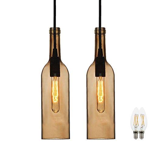 2er Set Glas Decken Lampen Tageslicht Flaschen Pendel Leuchten im Set inklusive LED Leuchtmittel