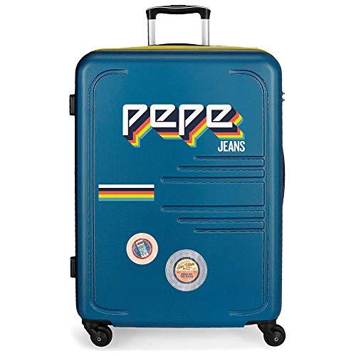 Pepe Jeans Edison Maleta Grande Azul 56x79x33 cms Rígida ABS Cierre combinación 125L 4,6Kgs 4 Ruedas Extensible
