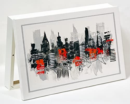 Cuadroexpres - Caja Decorativa para Cuadro de Luces 37x22x 4cm (Interior) en Blanco, La Tapa Es Un Cuadro Pintado A Mano, Moderno. Fácil de Colocar y Práctica.