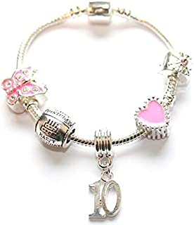 Liberty Chams Children's 'Pink Happy 10th Birthday' Silver Plated Charm Bracelet