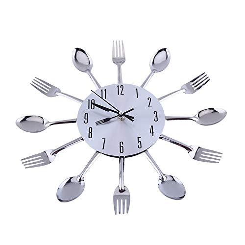 BABYCOW Reloj Pared grancon Espejo 3D, Superficie Plateada, diseño Moderno, Cubiertos, Utensilios Cocina, Cuchara, Tenedor, Reloj Pared DIY, 31,5 cm / 12,4 Pulgadas