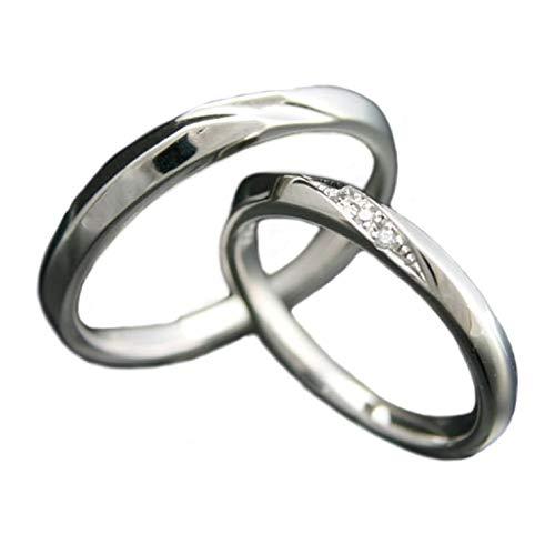 [ココカル]cococaru ペアリング 2本セット K10 ホワイトゴールド 結婚指輪 ダイヤモンド 日本製(レディースサイズ17号 メンズサイズ14号)