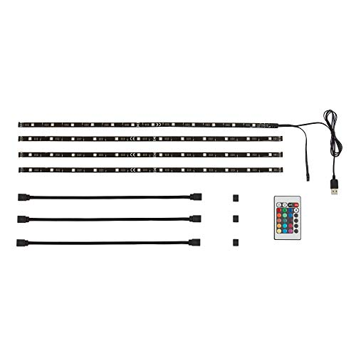 Briloner Leuchten 2353–024, 2m LED TV iluminación, cinta de LED, Tira LED, TV de fondo, tira Listón, luz LED, USB, autoadhesivo, intensidad regulable, RGB, de plástico, Negro, 50x 10x 3cm
