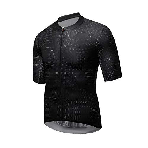 Hombres Ciclismo Jersey Patrón de Punto de Verano Manga Corta Bicicleta Jersey Transpirable Quick Dry MTB Road Bike Jersey (Color : Black, Size : Small)