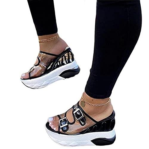 NISHIWOD Zapatillas Casa Chanclas Sandalias Wave Wedges Sandalias De Mujer Sandalias De Plataforma Cómodas Sandalias De Tacón Alto para Mujer Zapatos Casuales Mujer 40 Negro