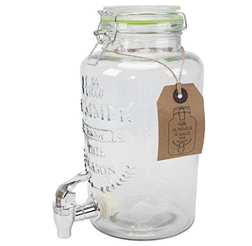 Saftspender 3 Liter aus Glas mit Zapfhahn Wasserspender Getränkespender Neu