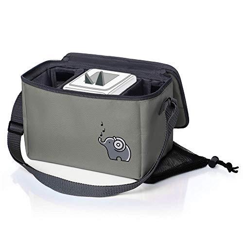 Musikbox-Tasche für Hörwürfel (z.B. Toniebox und Tigerbox Touch) in elefantengrau | Verstellbare Innenfächer | Netzbeutel für Zubehör (z.B. 10 Hörfiguren oder SD-Karten)