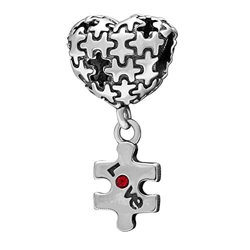 LILANG Pandora 925 joyería Pulsera Natural Amor corazón Rompecabezas Colgante Cuentas Ajuste Original Plata Encanto Mujeres DIY Regalos