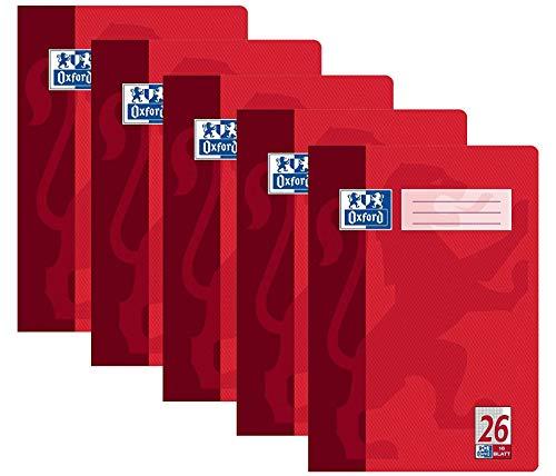 Oxford Schule Schulheft A4, Heft kariert mit Rand, Lineaur 26, 16 Blatt, rot, 5er Pack