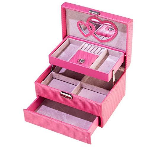 Preisvergleich Produktbild Kosmetiktäschchen Schminktasche Damen Schmuckschatulle Flanell Kosmetiketui Leder Schmuckschatulle große Kapazität Schmuckschatulle Damen tragbar rosa 21cm * 15.5cm * 12.5cm