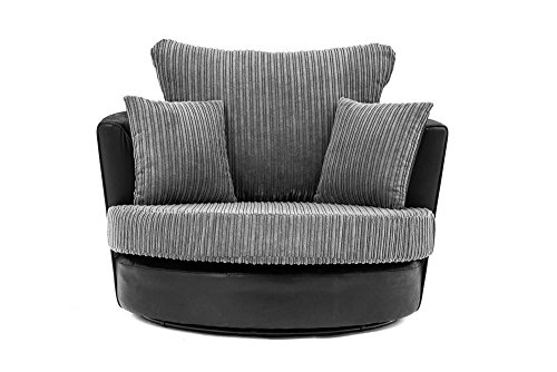 Abakus Direct Lush Swivel Chair in Black