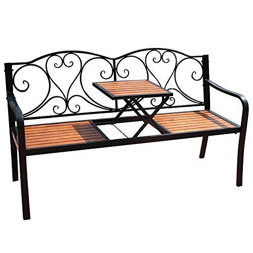 Bancos de madera maciza de hierro forjado para patio al aire libre, bancos dobles de hierro fundido, bancos de parque de jardín con adecuado para exteriores e interiores