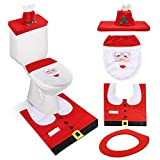 Ananko Christmas Toilet Seat Cover, Funny Santa Toilet Seat Cover, Washable Toilet Seat Cover, Rug, Tank & Toilet Paper Box Cover Set for Christmas Bathroom Toilet Ornament Decorations