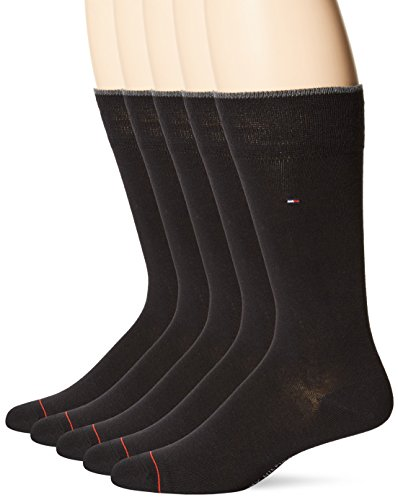 Tommy Hilfiger Men's 5 Pair Flat Knit Rayon Blend Crew Socks, Black, Shoe Size 7-12