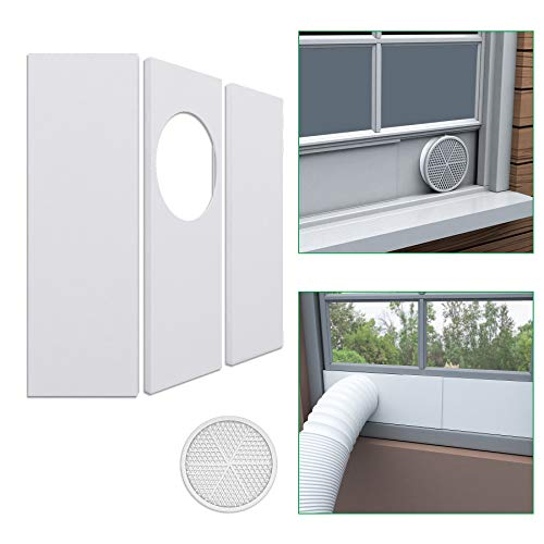 """Forestchill Portable Air Conditioner Window Seal Plates Kit for 5.9"""" Diameter Exhaust Hose, Universal AC Vent Kit for Sliding Windows and Hung Windows, Adjustable Length Sealing Panels for Mobile A/C"""