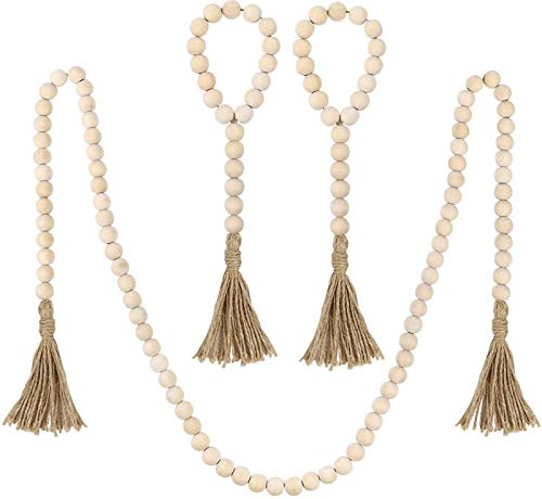 Wood Bead Garland Set, 3 pcs Farmhouse Rustic Country Beads with Tassles Wall Hanging Decor