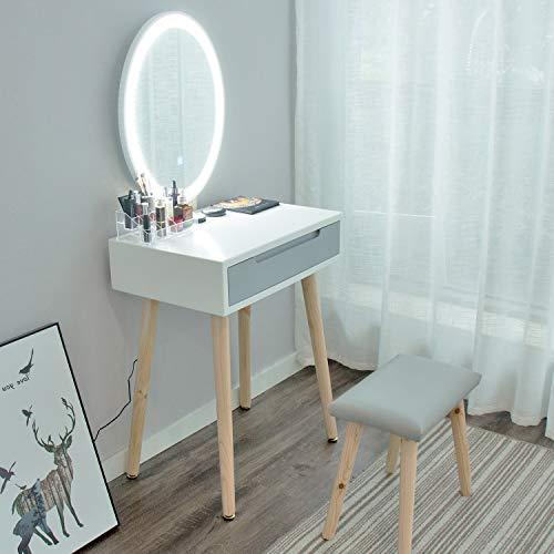 eklipt - Tocador de Maquillaje, Espejo de Mesa de cosméticos Vanity tocador, Mueble de Maquillaje de Dormitorio, con Taburete con Espejo LED, Blanco, 1 cajón