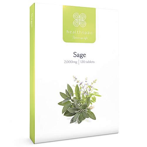 Sage 2,000mg | Healthspan | 120 Tablets | Natural Phytoestrogen | A Natural Plant Oestrogen | Vegan