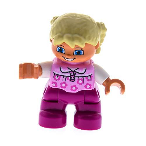 Bausteine gebraucht 1 x Lego Duplo Figur Kind Mädchen Schwester Hose pink Top rosa mit Blümchen Haare Zöpfe blond Augen schmal 10507 10505 45005 47205pb028