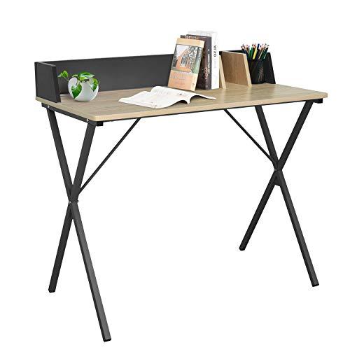 EUGAD 0074ZZ Schreibtisch Computertisch Bürotisch PC Tisch Arbeitstisch für Home, Büro, Metall MDF 90x50x73CM Hell Eiche