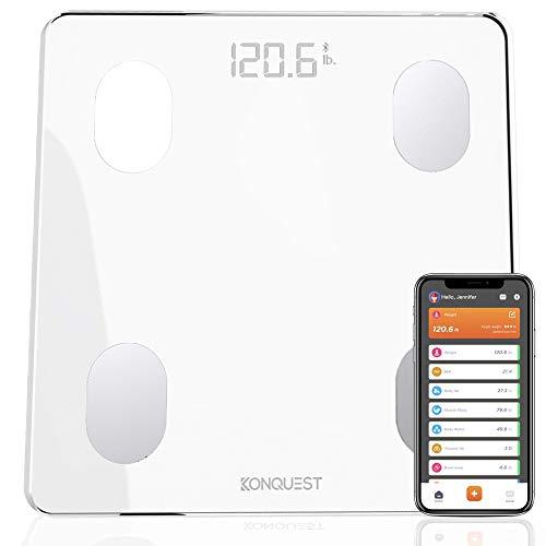 Konquest Premium Smart Digital Bathroom Scale, Wireless Bluetooth, BMI, Body Weight, Body Fat, Body Composition Analyzer with Smartphone App (400 lbs) - Arctic White