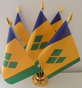 5 Saint Vincent undGrenadine Flagge Desktop Table Bildschirm mit goldfarbenem Sockel