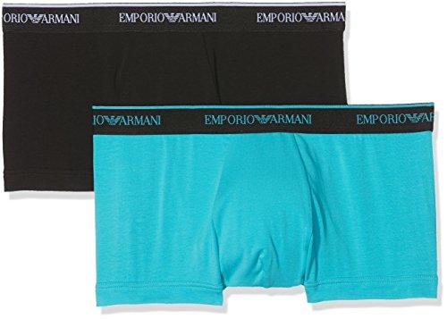 Emporio Armani Underwear Herren 1112108P717 Hipster, Mehrfarbig (Nero/Turchese 05320), Large (2er Pack)
