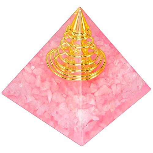 ZTTT Kristallpyramide mit Goldener Spiralpunkt (Color : Rose Quartz)